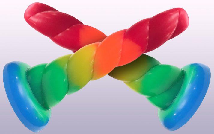 Split Peaches Rainbow Unicorn Dildo